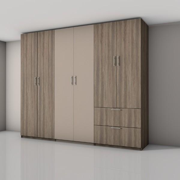 Draaideurkast met diverse deuren en lades